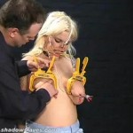 Busty amateur BDSM slave Cherrys nose hook bondage thumbnail 17