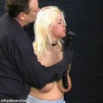 Busty amateur BDSM slave Cherrys nose hook bondage thumbnail 4